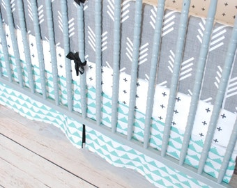 Custom Crib Bedding-3 piece-Grey Arrows, Plus and Mint