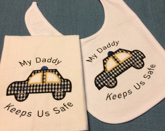Police Baby Bib and Burp Cloth Gift Set