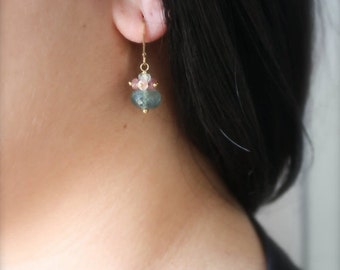 15%SALE Moss Aquamarin and Pink Sapphire Earrings- Gold Filled