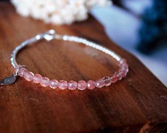 Cherry Quartz Bracelet, Layer Stacking Bracelet, Gemstones