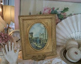 vintage florentine gilded wood frame with print,
