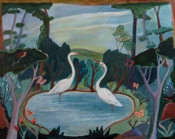 The Pond, art print, wall decor, birds, folk art, landscape