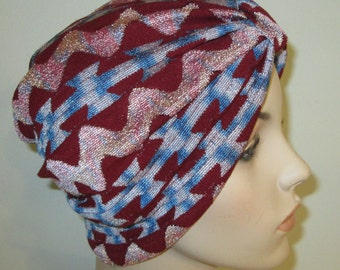 Ethnic Cranberry  Stretch Turban, Chemo Hat, Cancer Turban, Womens Hat