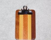 "Mini Hardwood Clipboard (6.5"" x 4"")  - Mahogany Poplar and Walnut"