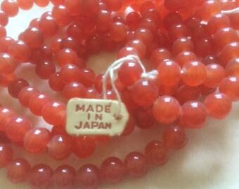 Vintage Glass Beads (24)(6mm) Carnilien Handmade Japanese Beads