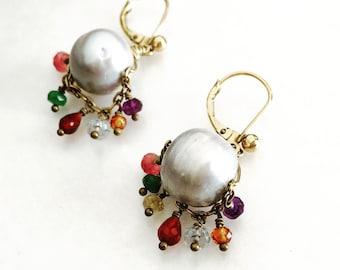 Chakra Stones and Jumbo Pearl Earrings