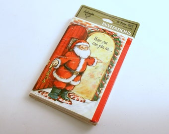 Vintage Invitations Christmas Party Santa Hallmark Original Package