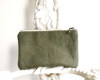 SALE Military canvas zipper wallet, pencil case, utility pouch - eco vintage fabrics
