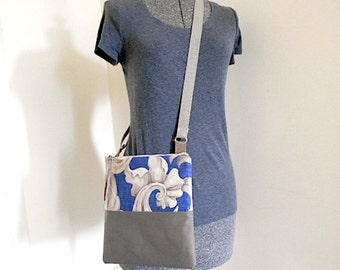 Linen crossbody bag - 1920s antique linen, indigo taupe  - eco vintage fabrics