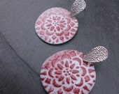 Going Away Sale 30% OFF Mandala-Enamelled Copper and Silver drop earrings, with a colorful floral mandala pattern with a bohemian feel, Tibe