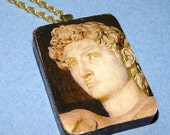 Decoupage on wood necklace of Michelangelo's David
