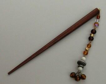 Asian teak wood hair stick adornment accessory