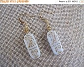 ON SALE White Egyptian Earrings, White and Gold Earrings, Egyptian Earrings
