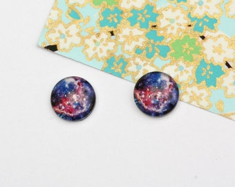 Sale - 10pcs handmade nebula round clear glass dome cabochons 12mm (12-0889)