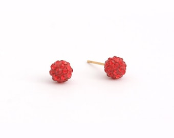 Red Rhinestone Stud Earring Post Finding (EX063)(Red)