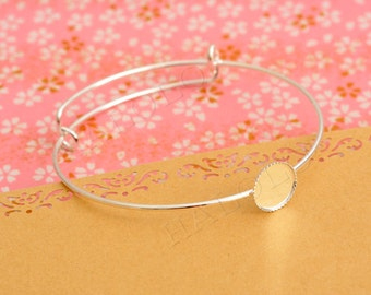 5 pcs silver finish base tray bangle - fit for 12mm cab. BN407
