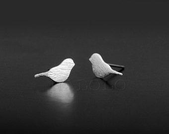 Bird Silvery Stud Earring Post Finding (EX048D)