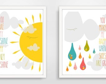 You Are My Sunshine, You Make Me Happy When Skies Are Gray, Nursery Wall Art, Pink and Yellow Decor, Baby Wall Art, Set of Two Prints