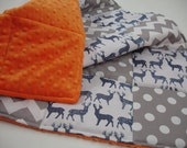 Meadow Deer Navy with Gray Chevron and Dots Minky Blanket You Choose Size MADE TO ORDER No Batting
