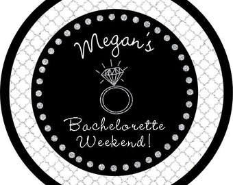 Glitter Silver Engagement Diamond Ring Bachelorette Birthday round sticker label for birthday party, baby shower, PERSONALIZED