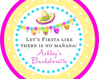 Fiesta Mexican Themed Party Sombrero BacheloretteThank You PERSONALIZED Stickers, Tags, Labels, or Cupcake Toppers, various sizes