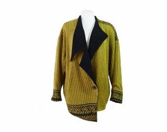 Vintage Sweater | Junko Koshino Asymmetrical Black And Citron Knit Cardigan Paris Milan Tokyo Avant Garde Slouchy Oversize