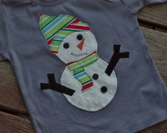 "Boys Snowman applique tee shirt ""Whimsical Trees"" available in size 6-12-18-24 mth  2T-3-4-5-6-7-8 Christmas Holiday assorted fabrics"