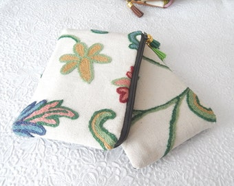 Floral green and blue crewel embroidery pouches, wool floral clutch, bridal gifts,  makeup bag, cosmetic pouch, purse organizer