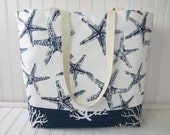 Starfish Beach Tote - Sea Coral Beach Bag - Large Beach Bag - Starfish in Navy Blue Sea Coral Beach Tote - Waterproof Bag - Starfish Wedding