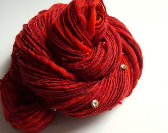 Handspun Art Yarn - DRAGON'S BREATH - Fairytale, Fantasy. Deep Red, Gold Sequins, Beads. Soft, Textured. Luxury Knitting. 200 yds, 3.53 oz