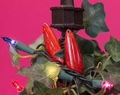 Vintage Acrylic Teardrop Pendant Sparkle Red Orange pnd033D