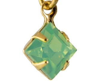 Green Opal Faceted Square Glass Stones in 1 Loop Gold Setting 6mm squ006PP