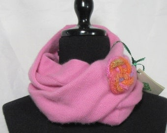 Pretty Pink  Infinity Cashmere Scarf made from an Upcycled Sweater