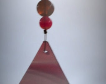 Dragonfly Pink Stained Glass Suncatcher with Bell Valentine Gift Sweetheart Gift