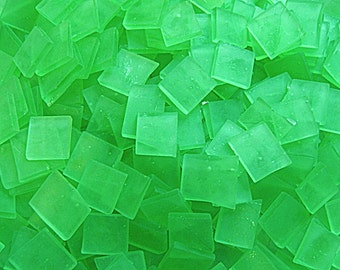 100 1/2 Inch Lime Green Tumbled Stained Glass Mosaic Tiles