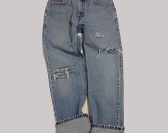 29 Inch Raw Destroyed Vintage Levi Boyfriend  jeans denim jeans