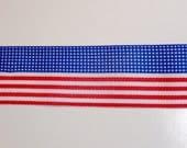 American Flag Ribbon, Offray Patriotic Stripes Grosgrain Ribbon 1 1/2 inches wide x 5 yards, Americana Ribbon
