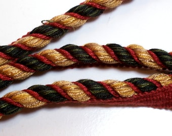 Lip Cord, Orange, Green, and Gold Braided Lip Cord Trim 1/2 inch wide x 3 yards, Cord is 1/2 inch