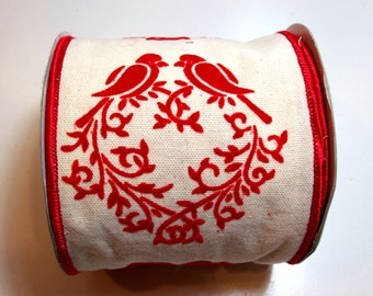 Wide Wired Ribbon, Offray Lovebird Wired Fabric Ribbon 4 inches wide x 10 yards, Full Bolt, Red Flocked Ribbon