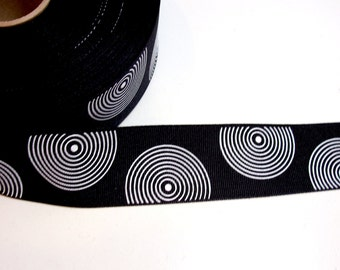 Black Ribbon, Black with White Spirals Grosgrain Ribbon 1 1/2 inches wide x 10 yards, SECOND QUALITY FLAWED