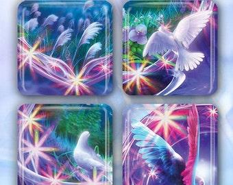 "60% OFF CLEARANCE Fantasy Doves - Set of 4 Glass Tile Magnets 1"" square FANT100"