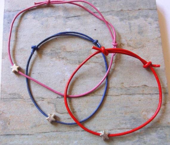 Minimal Pink Leather with Silver Star Friendship Bracelet, Stacking Bracelet