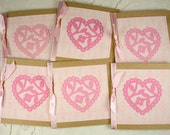 Soft Pink Heart Gift Cards with Ribbon Set of Six Lunchbox Love Notes