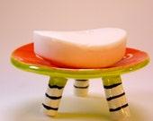 whimsical ceramic Soap Dish, candleholder :) Tangerine Orange bright chartruse, w/ white swirls on top, striped black & white legs