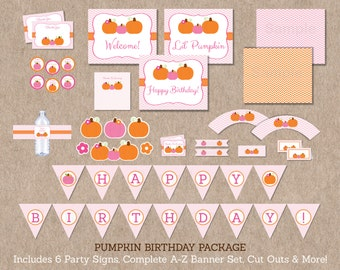Pumpkin Birthday Party Package / Pumpkin Baby Shower / Pink Pumpkin / Fall Birthday / Pumpkin Birthday Decorations / INSTANT DOWNLOAD