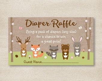 Pink Woodland Forest Animal Diaper Raffle Tickets / Woodland Baby Shower / Girl Forest Animals / Baby Girl Shower / INSTANT DOWNLOAD