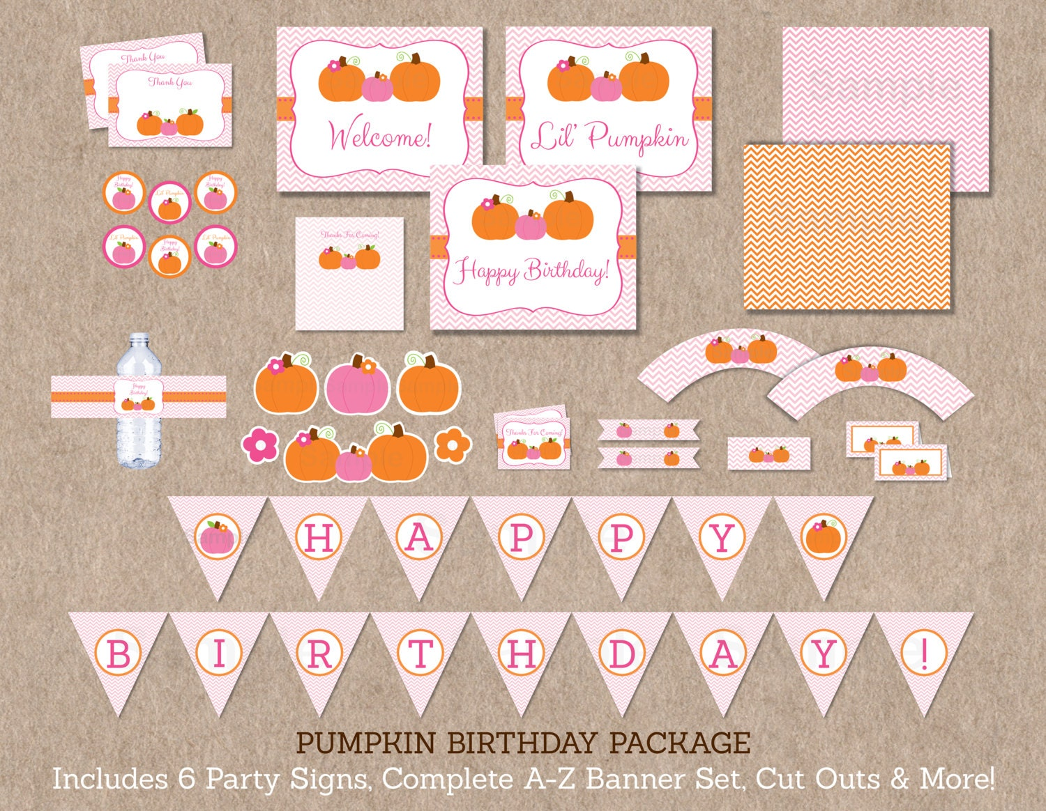 Pumpkin birthday party package pumpkin baby shower pink for Baby shower decoration packages