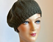 Knit Beret in Baby Alpaca Wool - Hand Knitted Wool Beret - Made to Order - 2 WEEKS FOR SHIPPING