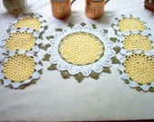 Daisy Beverage Set Crochet Lace Thread Art Doily and Coasters New Handmade