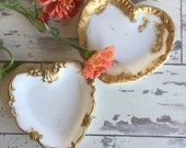 Antique Dithridge Milk Glass Trinket Dishes - Heart - EAPG - Gold Trim